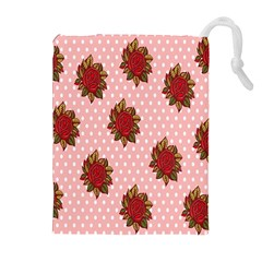 Pink Polka Dot Background With Red Roses Drawstring Pouches (Extra Large)