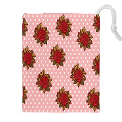 Pink Polka Dot Background With Red Roses Drawstring Pouches (XXL)