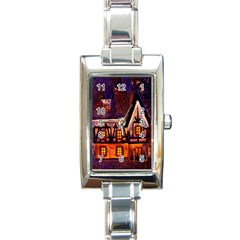 House In Winter Decoration Rectangle Italian Charm Watch