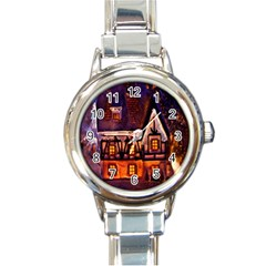 House In Winter Decoration Round Italian Charm Watch