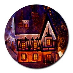 House In Winter Decoration Round Mousepads