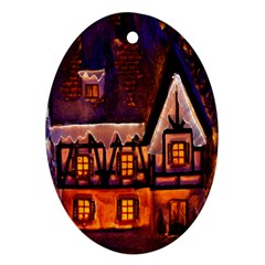House In Winter Decoration Ornament (Oval)