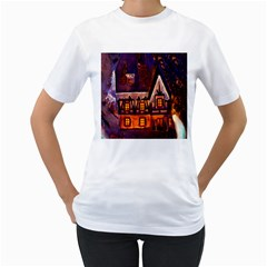 House In Winter Decoration Women s T Shirt (white) (two Sided)