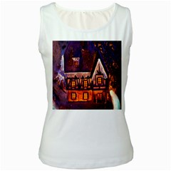 House In Winter Decoration Women s White Tank Top