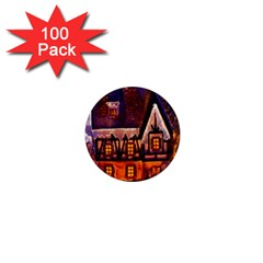 House In Winter Decoration 1  Mini Magnets (100 Pack)