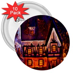 House In Winter Decoration 3  Buttons (10 pack)
