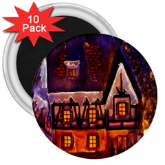 House In Winter Decoration 3  Magnets (10 pack)