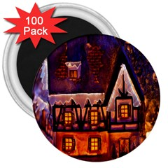 House In Winter Decoration 3  Magnets (100 pack)