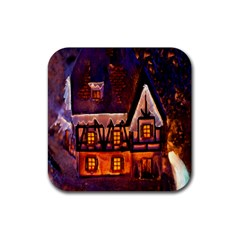 House In Winter Decoration Rubber Square Coaster (4 pack)