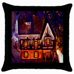 House In Winter Decoration Throw Pillow Case (Black)