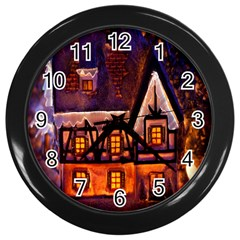 House In Winter Decoration Wall Clocks (Black)
