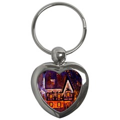 House In Winter Decoration Key Chains (Heart)