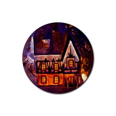 House In Winter Decoration Rubber Coaster (Round)