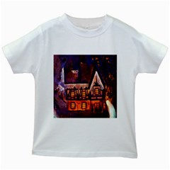 House In Winter Decoration Kids White T Shirts
