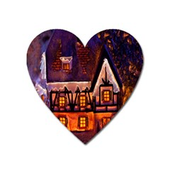 House In Winter Decoration Heart Magnet
