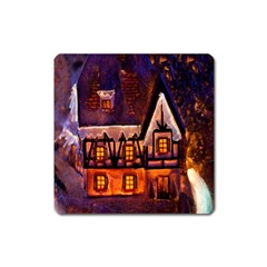 House In Winter Decoration Square Magnet