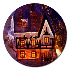 House In Winter Decoration Magnet 5  (Round)