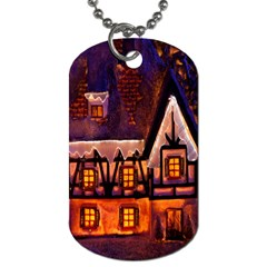 House In Winter Decoration Dog Tag (One Side)