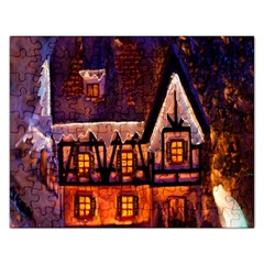 House In Winter Decoration Rectangular Jigsaw Puzzl