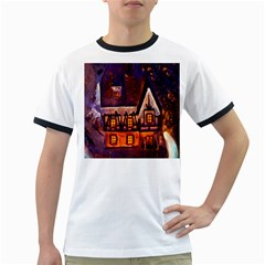 House In Winter Decoration Ringer T-Shirts