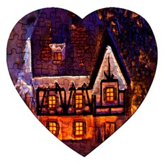 House In Winter Decoration Jigsaw Puzzle (heart)