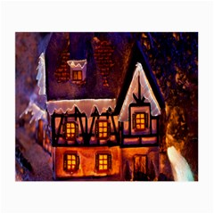 House In Winter Decoration Small Glasses Cloth