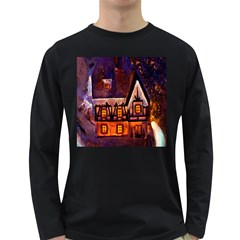 House In Winter Decoration Long Sleeve Dark T-Shirts