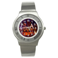 House In Winter Decoration Stainless Steel Watch