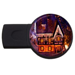 House In Winter Decoration USB Flash Drive Round (4 GB)
