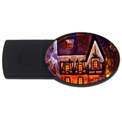 House In Winter Decoration USB Flash Drive Oval (4 GB)