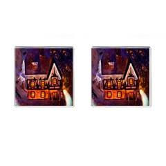 House In Winter Decoration Cufflinks (Square)