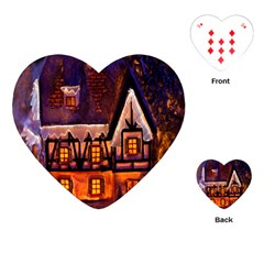 House In Winter Decoration Playing Cards (Heart)
