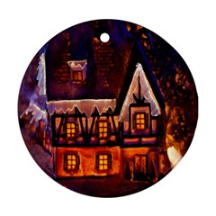 House In Winter Decoration Round Ornament (two Sides)