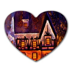 House In Winter Decoration Heart Mousepads