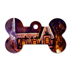 House In Winter Decoration Dog Tag Bone (One Side)