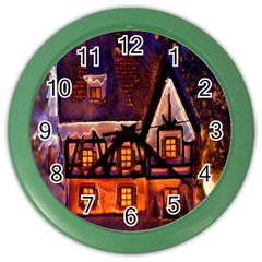 House In Winter Decoration Color Wall Clocks
