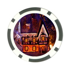House In Winter Decoration Poker Chip Card Guard