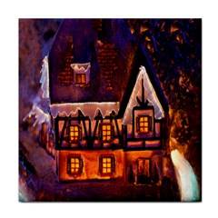 House In Winter Decoration Face Towel
