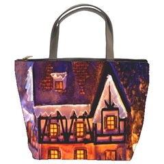 House In Winter Decoration Bucket Bags
