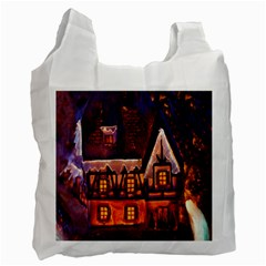 House In Winter Decoration Recycle Bag (one Side)
