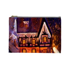 House In Winter Decoration Cosmetic Bag (Large)