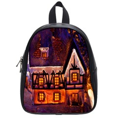 House In Winter Decoration School Bags (small)