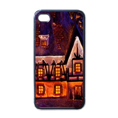House In Winter Decoration Apple iPhone 4 Case (Black)