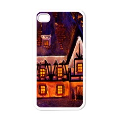 House In Winter Decoration Apple Iphone 4 Case (white)