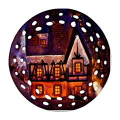 House In Winter Decoration Round Filigree Ornament (Two Sides)