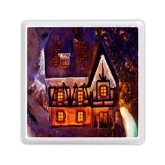 House In Winter Decoration Memory Card Reader (Square)