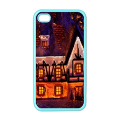 House In Winter Decoration Apple Iphone 4 Case (color)