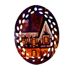 House In Winter Decoration Oval Filigree Ornament (Two Sides)
