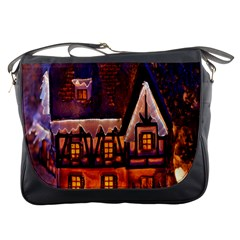 House In Winter Decoration Messenger Bags
