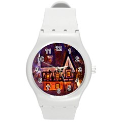 House In Winter Decoration Round Plastic Sport Watch (m)